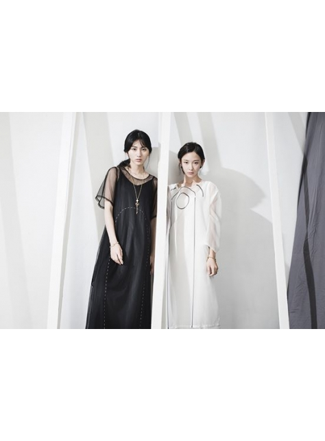陰影在我身上 黑色網紗長洋裝