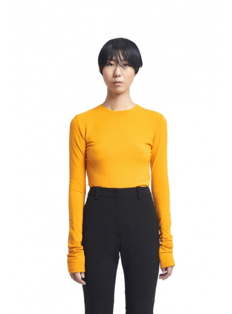 橘黃混紡羊毛上衣