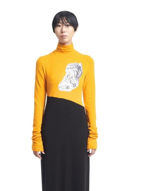 針織高領塗鴉洋裝