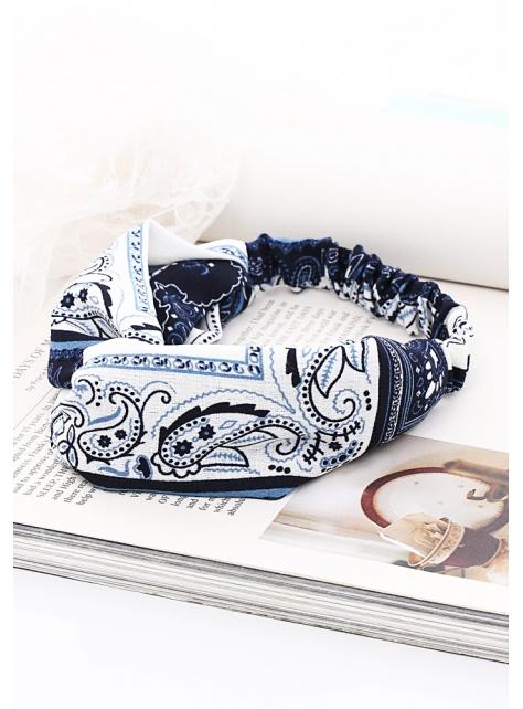古典青花瓷變形蟲鬆緊交叉髮帶