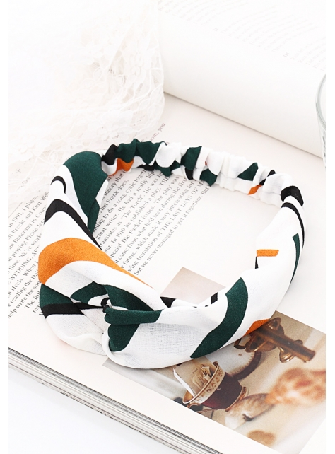 造型雙色條紋鬆緊交叉髮帶