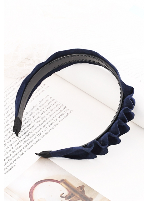 簡約麂皮波浪縐摺造型髮箍