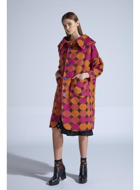 moi non plus 艾蜜莉點點羊毛大衣 - 日本毛料
