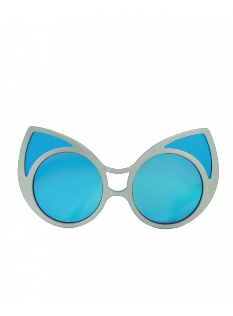 KR1貓面具墨鏡-白格紋/寶藍
