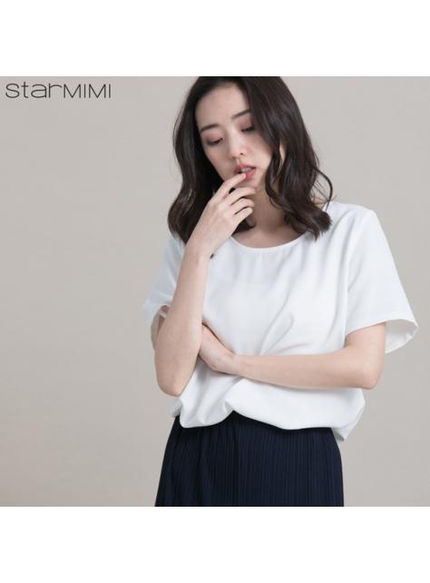 STARMIMI素面滑質簡約上衣-白