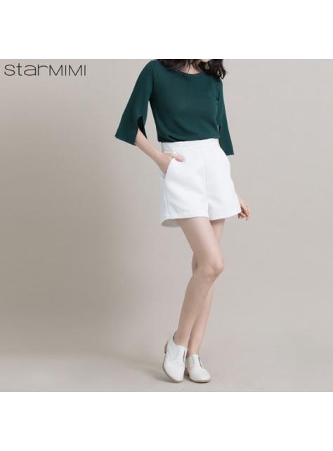STARMIMI簡約絲感短褲-白