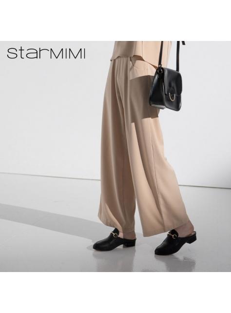 STARMIMI後拉鍊腰鬆緊滑料寬褲