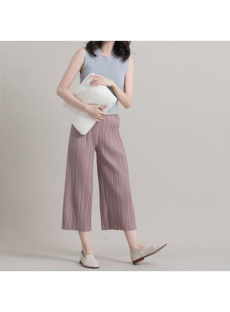 立體壓褶不修邊八分寬褲