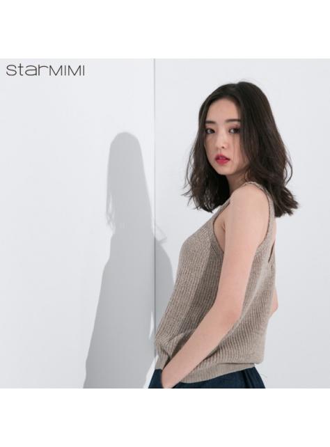 STARMIMI吊帶V領針織背心-杏