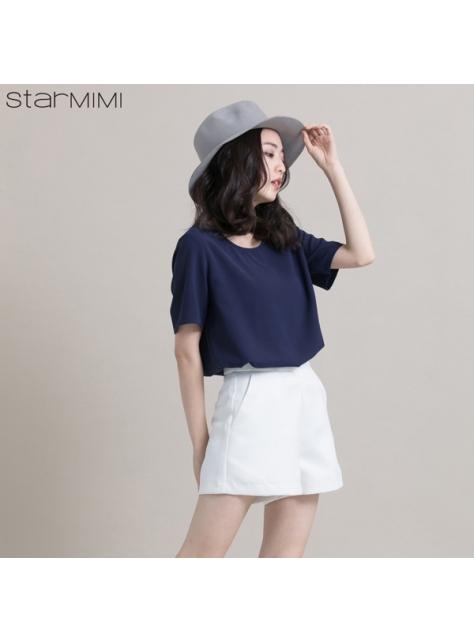 STARMIMI素面滑質簡約上衣-藍