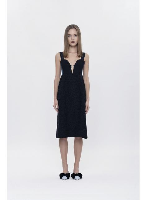 V-neck Jacquard Dress
