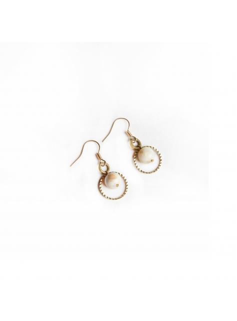 雙圈天然石耳環 - Rotate ' stone earring