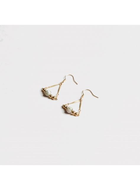 玉石黃銅三角耳環 - Jade ' triangle earring