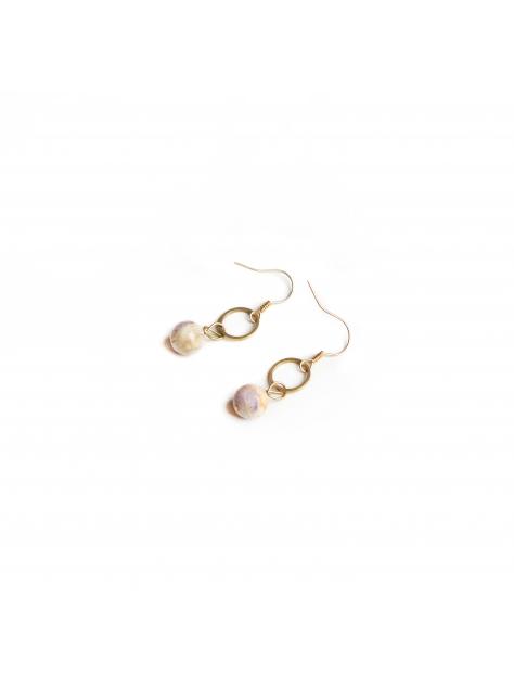 垂墜圓圈天然石耳環 - Drape ' stone earring