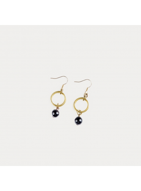 麻花垂墜耳環 - Twist Wave ' stone earring