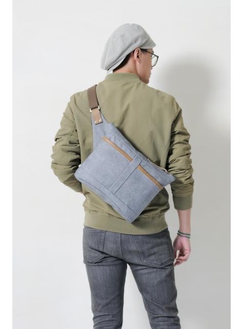 BUD-手做皮革帆布斜側揹/平板電腦/腰包