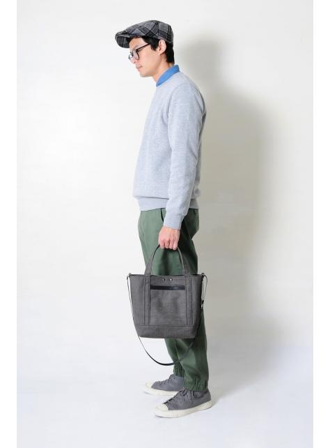 RED CAPACITY-MOSS-手做黑色皮革 暗綠色帆布手提/側揹/斜揹包