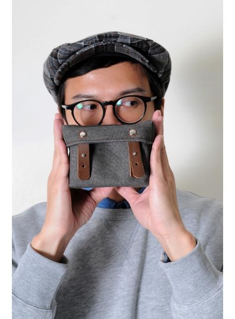 RED CAPACITY-MOSS-手做深褐色皮革 暗綠色帆布盒型相機包