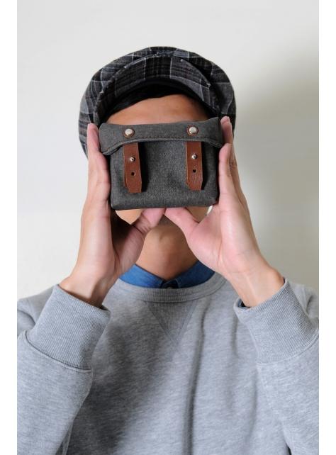 RED CAPACITY-MOSS-手做磚紅色皮革 暗綠色帆布盒型相機包