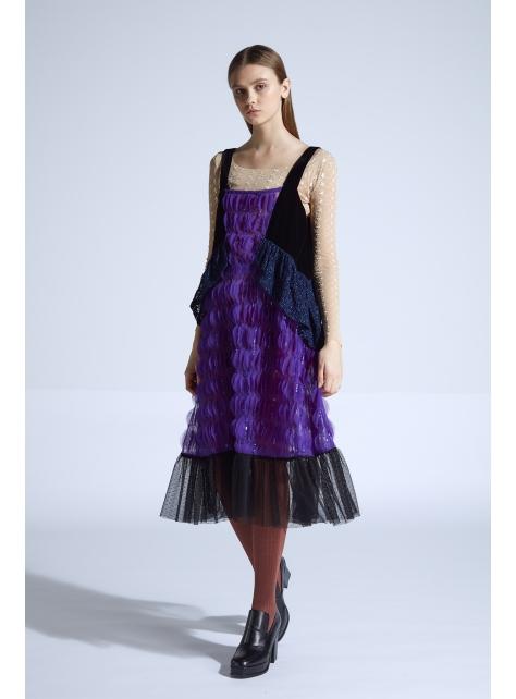 moi non plus 愛黛兒拼接吊帶裙 - 紫 - 印度面料