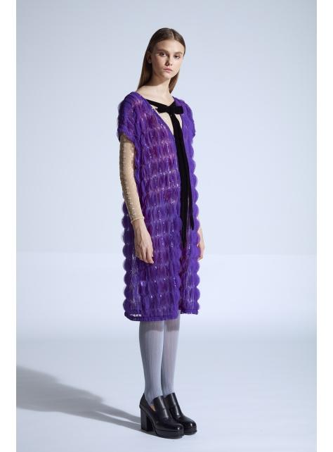 moi non plus 艾蜜莉蝴蝶結洋裝 - 紫 - 印度面料