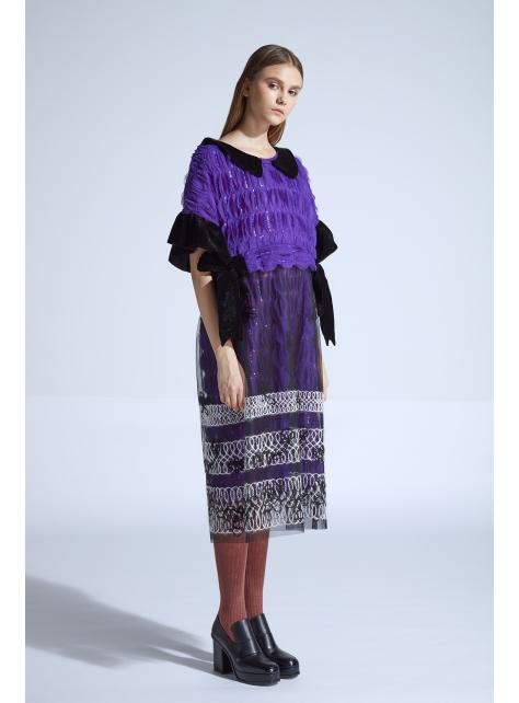 moi non plus 克林姆蝴蝶結拼接洋裝 - 紫 - 日本/印度 面料