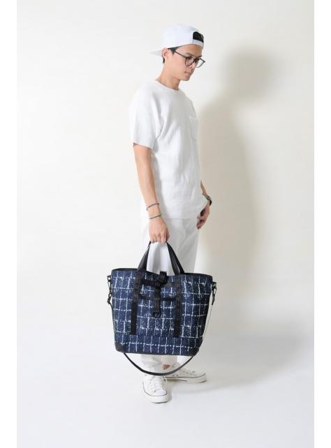 RED CAPACITY-SAPPHIRE-手做皮革深藍色格紋棉布+牛仔丹寧布手提/斜側揹包