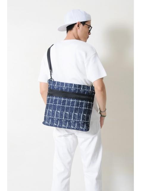 RED CAPACITY-SAPPHIRE-手做深藍色格紋棉布+牛仔丹寧布手拿/斜側揹包/電腦包