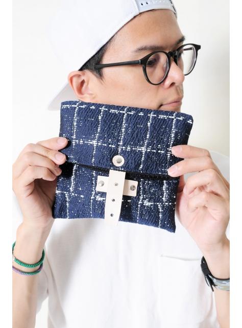 SAPPHIRE-手做皮革深藍色格紋棉布折疊式相機包