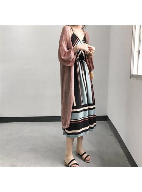 拼色條紋吊帶裙