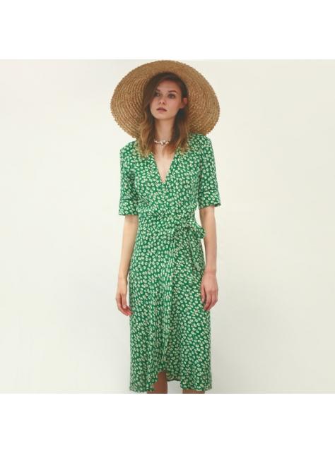 複古綠色碎花五分袖中長款修身洋裝