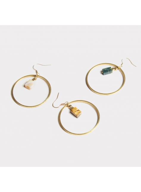海洋石大圈耳環 - Circle ' Ocean stone earring