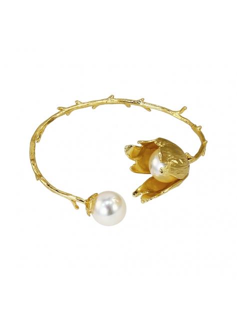 花詠。樹枝黃銅珍珠手環