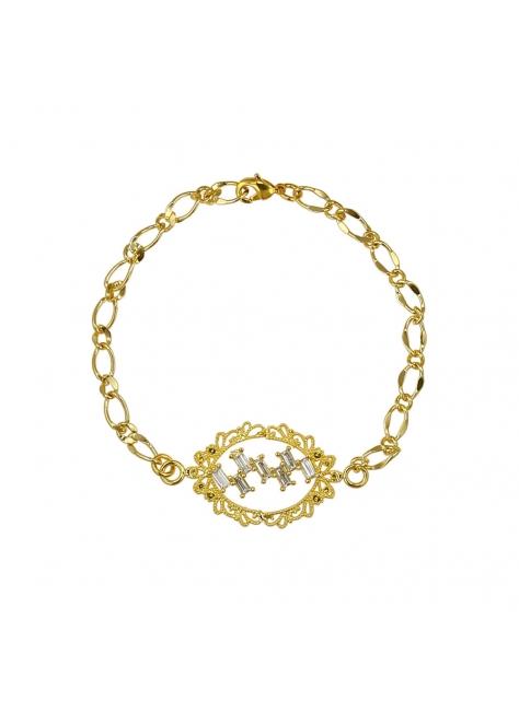 蕾絲奧。古典黃銅手鍊