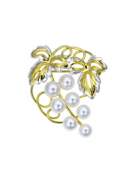 14K金珍珠葡萄胸針