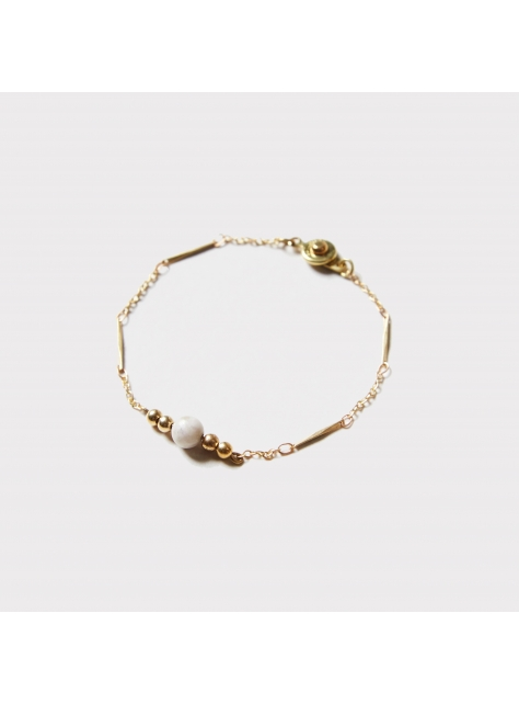 玉石黃銅細鍊手鍊 - Jade ' connection bracelet