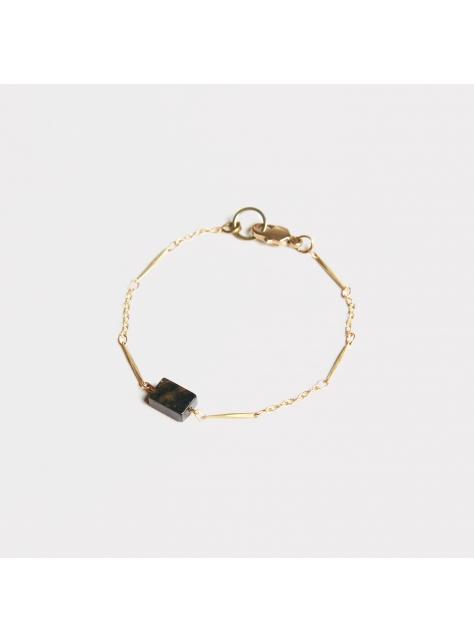 Ocean stone basic bracelet - 海洋石黃銅細鏈手鍊