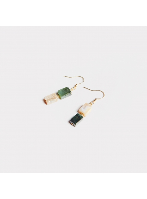 Double ' Ocean stone earring - 雙色海洋石耳環