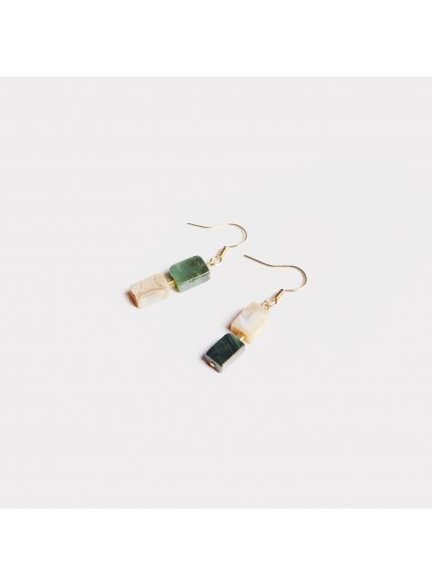 Double ' Ocean stone earring - 雙色海洋石耳環