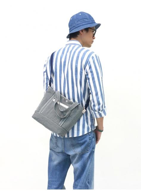 RED CAPACITY-STRIPE-手做皮革條紋丹寧帆布手提/肩揹/斜揹包