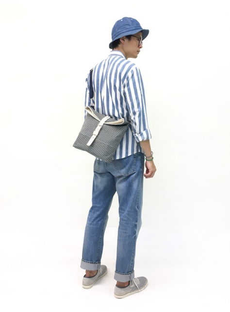 RED CAPACITY-STRIPE-手做皮革條紋丹寧帆布折蓋肩揹/斜揹包