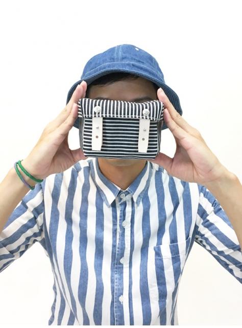 RED CAPACITY-STRIPE-手做皮革條紋丹寧帆布盒型相機/收納包