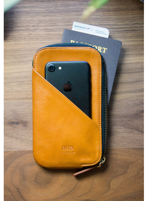 Travel Phone Wallet - Caramel