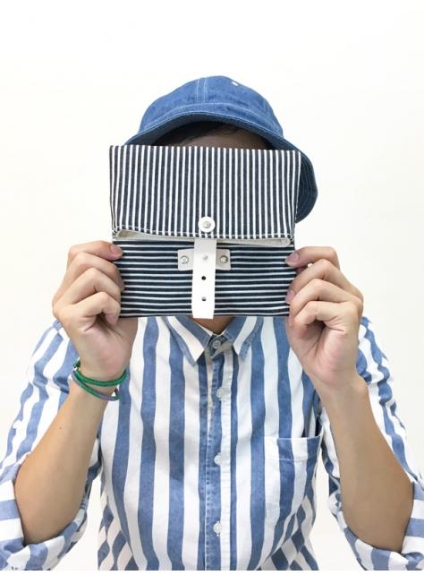 RED CAPACITY-STRIPE-手做皮革條紋丹寧帆布折疊相機/收納包