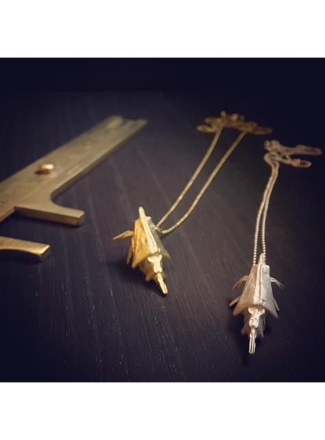Origamini, 小摺學 925Silver 金工純銀項鍊 necklace 蝦 Shrimp