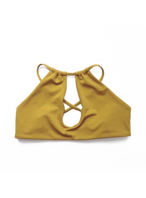Lahaina Mustard 芥黃衝浪綁帶比基尼泳衣