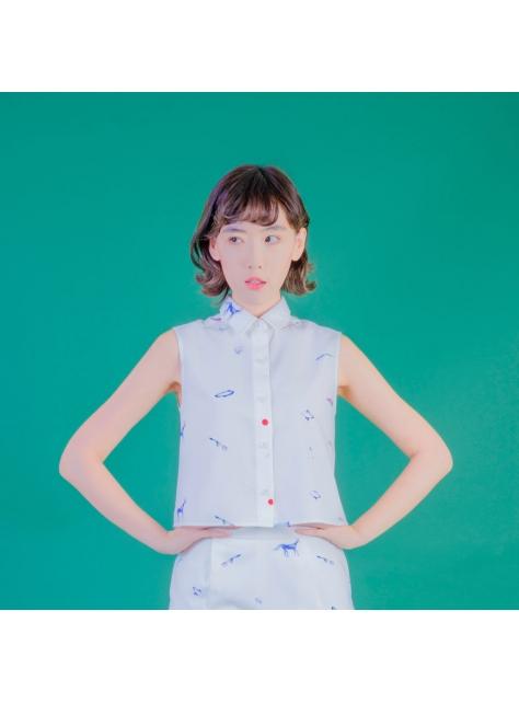 白蜥蜴無袖襯衫