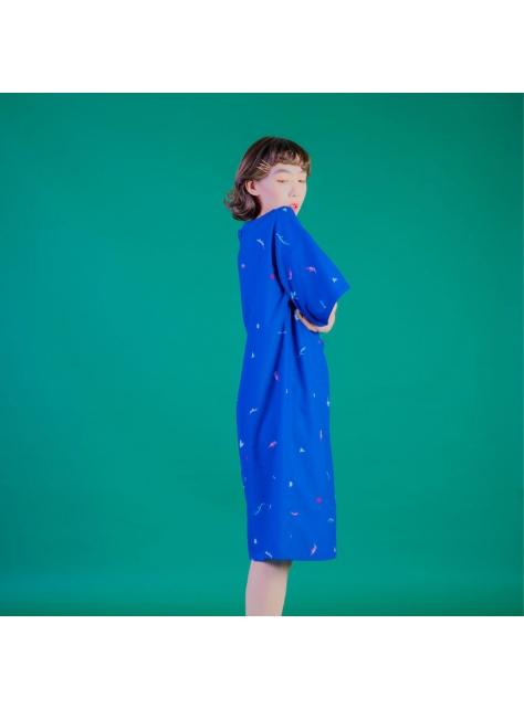藍蜥蜴五分袖直洋裝