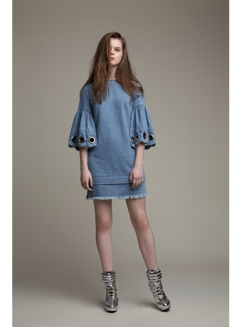Full Moon傘袖牛仔洋裝 - 藍