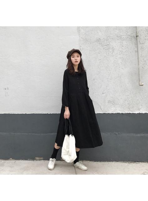 秋季新款韓版厚實純色洋裝